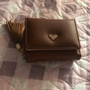 Handbags - Small brown heart wallet coin purse with tassel